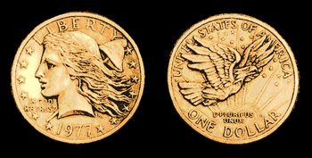 Frank Gasparro's original 1977 design for the small dollar coin